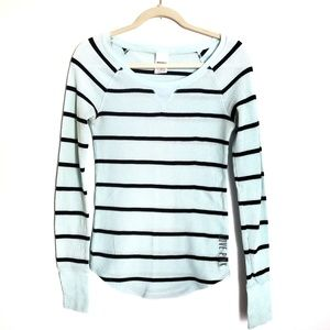 PINK VICTORIA'S SECRET Mint Striped Thermal Top M